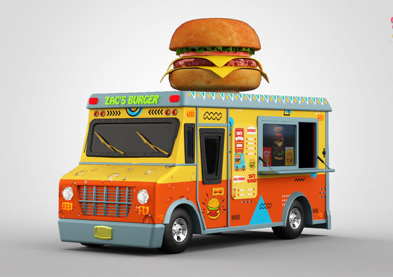 Burger Truck || Textured || Low-poly Game Ready Model