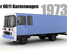 3D model Robur O611 Kastenwagen and B26 Bus antique