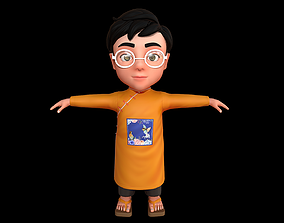 Cartoon-Character-Child-Indian-Rig 3D model