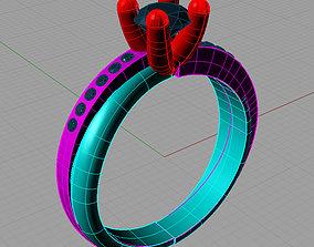 Solitaire Round diamond Cut Anello 3D printable model 2
