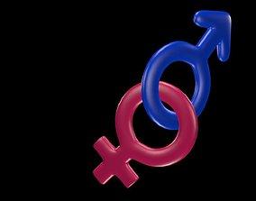Symbols of gender 3 3D
