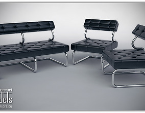 Leather Set - Chairs-Couch 3D