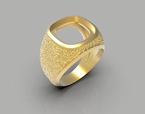 Rough textured customizable signet ring 3D print model