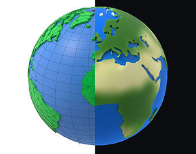 3D model Earth low poly simple design cartoon