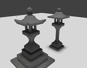 3D asset stone lantern