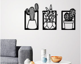 Cactus pots wall decoration set of 3 3D printable model