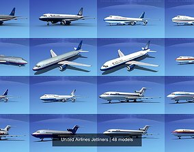 48 United Airlines Jetliners 3D