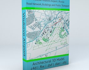 3D Vnukovo VKO Moscow Airport Roads Buildings and Public