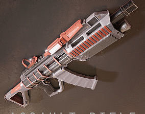 3D asset Sci-fi Futuristic Assault rifle