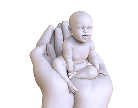 funny baby on two hands 3D print model