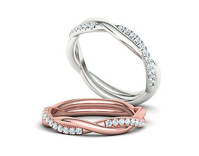 Gorgeous Rope Style Twisted Wedding band French Pave