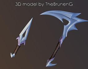 KDA 2020 Akali prop weapons League of 3D print model 1