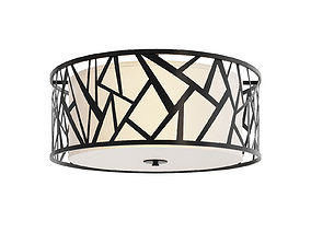 3D model Ceiling chandelier made of metal with textile 1