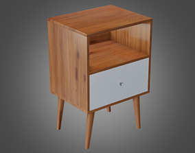 3D model Nightstand Brown White Pbr 2 Lowpoly