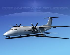 3D DeHavilland DHC-8-Q300 Bare Metal