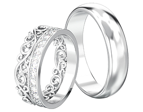 3D printable model Set of two wedding rings simple and 2