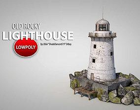 3D asset VR / AR ready Old Rocky Lighthouse