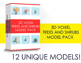 Voxel trees 3D model low-poly