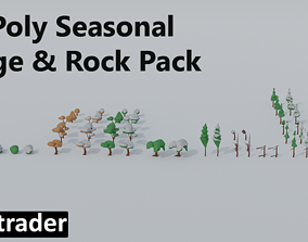 Low Poly Seasonal Foliage And Rock Pack 3D asset