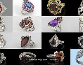 3D 15 Gemstone Rings pack jewel