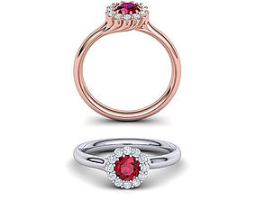 Ruby Engagement ring Unique design N10341 3D print model 1