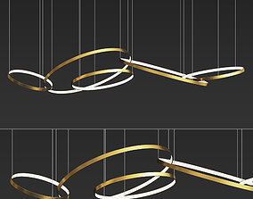 Gold Ring Chandelier 3D