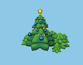 conceptual 3D model low-poly christmas tree