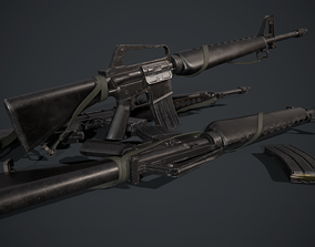 3D asset VR / AR ready M16A1 army