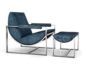 Bower Lounge Chair and Ottoman by West Elm 3D