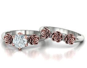 Own Design Wedding Set Floral Rose design 1ct Stone 1
