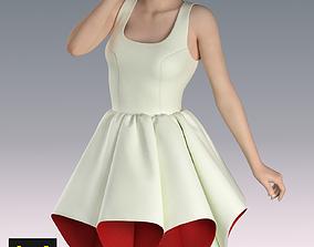 3D Dress white