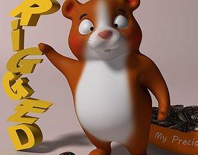 3D asset Cartoon Hamster Rigged