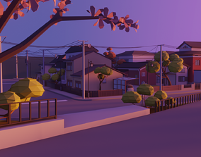 Low poly japanese town 3D model