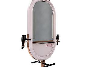 3D model hairdresser table mirror pink rose