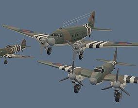 WW2 British Airplane Models 3D asset