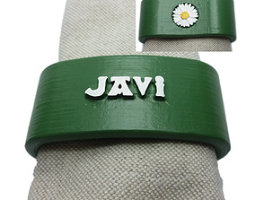 JAVI 3D Napkin Ring with daisy
