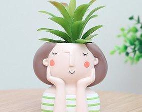 Decoration Planter Pot Cute Girl 2 stl for 3D