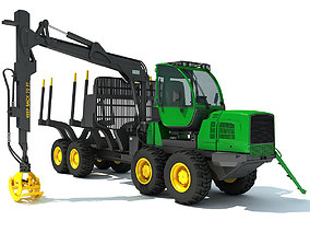 3D Green Forwarder Forestry Vehicle