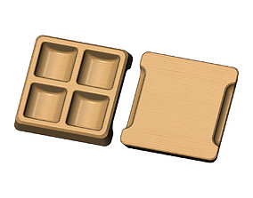 Square 4 pockets serving tray relief 3D print model