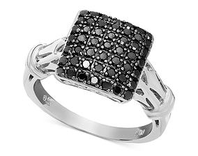 fancy black diamond ring 3D printable model silver