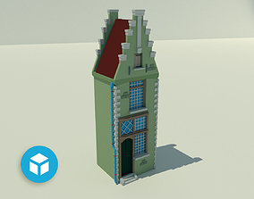 3D asset Narrow tenement with olive elevation