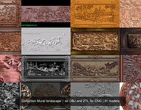 3D Collection Mural landscape - stl OBJ and ZTL for CNC