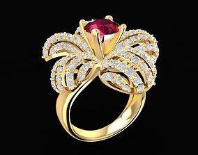 1677 Diamond Flower Ring 3D printable model