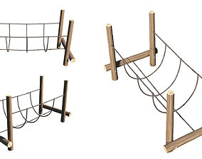 Playground Wooden Log Balance Beam 3D