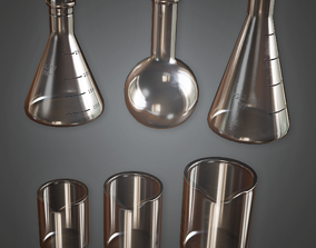 3D model game-ready CLA - Beakers 01 - PBR Game Ready