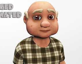 3D asset cartoon grandpa