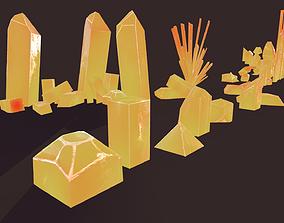 3D asset Orange Minerals 21 pcs