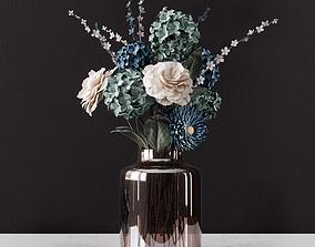 3D model Decor bouquet of flowers in a glass vase