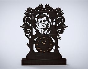 Decorative clock furniture with John F Kennedy 3D asset 1