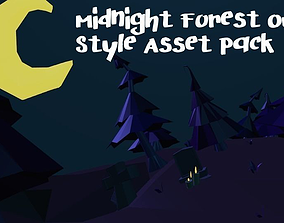 3D model Midnight Forest Owen Style Low-Poly Pack With 14